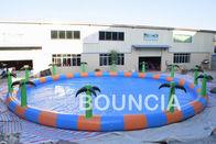 Piscinas infláveis redondas da água do diâmetro do anúncio publicitário 15m com palmeira