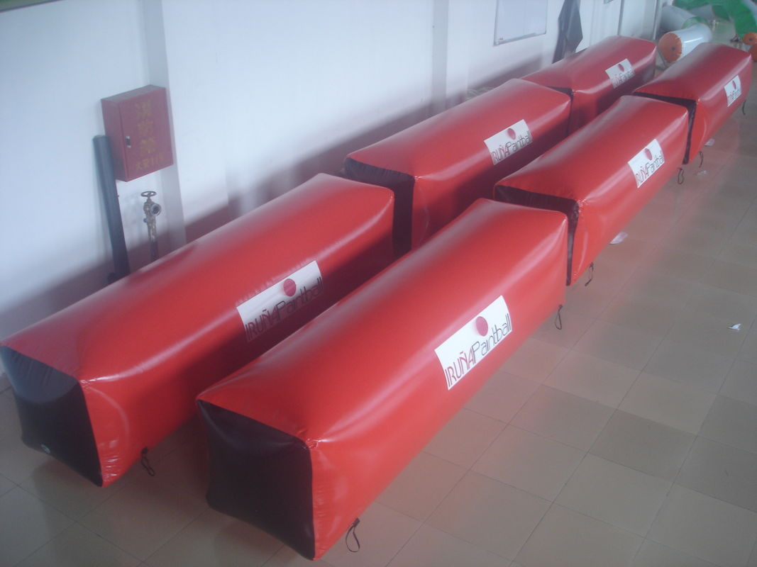 Red 0.9mm PVC Tarpaulin Inflatable Paintball Bunker